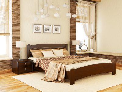 Кровать Венеция Люкс (массив) - темный орех (101)