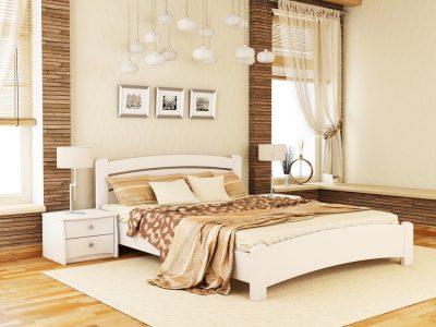 Кровать Венеция Люкс (массив) - белый акрил (107)