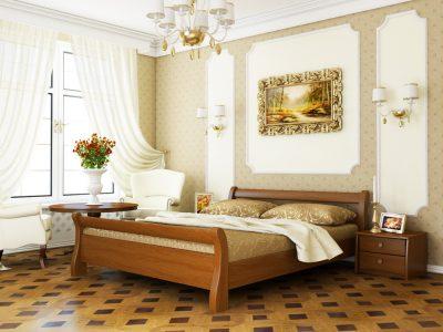 Кровать Диана (массив) - светлый орех (103)