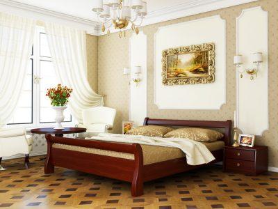 Кровать Диана (массив) - красное дерево (104)