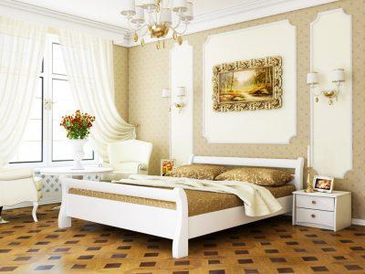 Кровать Диана (массив) - белый акрил (107)