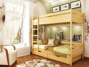 Кровать Дуэт (щит) - бук натуральный (102)