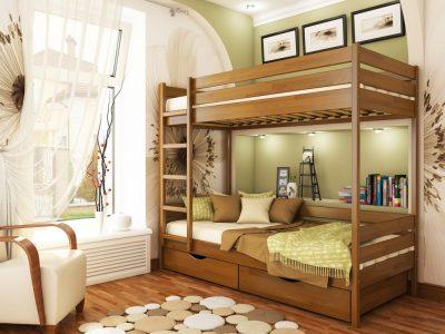 Кровать Дуэт (щит) - светлый орех (103)