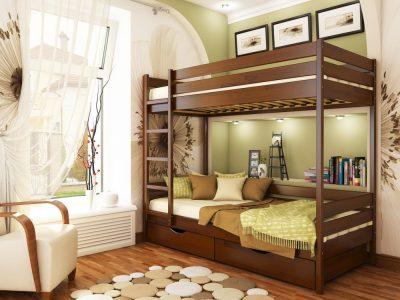 Кровать Дуэт (щит) - каштан (108)