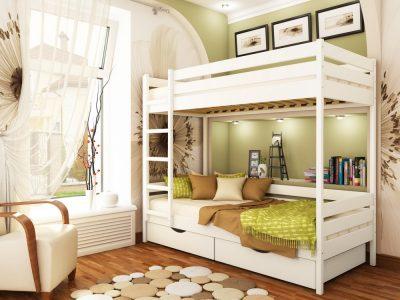 Кровать Дуэт (массив) - белый акрил (107)