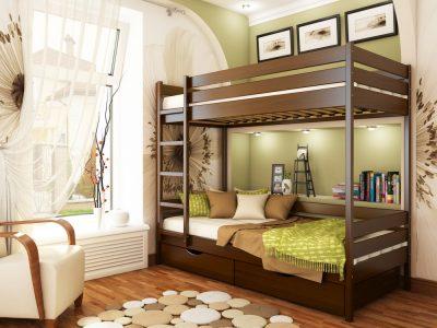 Кровать Дуэт (массив) - темный орех (101)