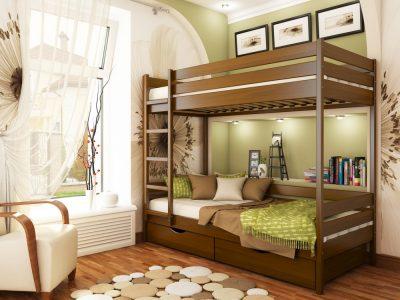 Кровать Дуэт (массив) - светлый орех (103)