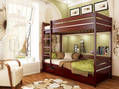 Кровать Дуэт (массив) - красное дерево (104)