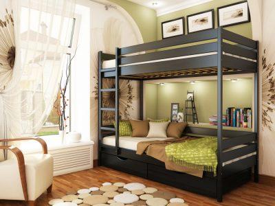 Кровать Дуэт (массив) - венге (106)