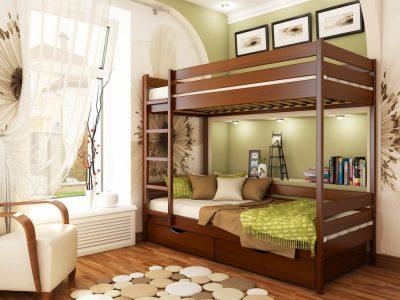 Кровать Дуэт (массив) - каштан (108)