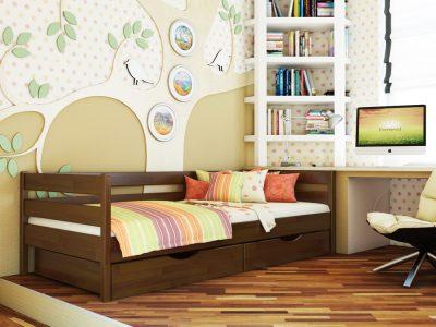 Кровать Нота (щит) - темный орех (101)