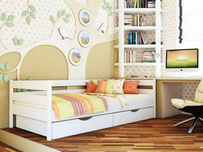 Кровать Нота (щит) - белый акрил (107)
