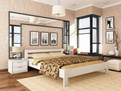 Кровать Рената (массив) - белый акрил (107)