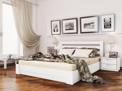 Кровать Селена (массив) - белый акрил (107)