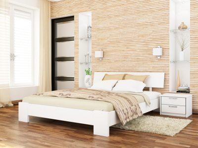 Кровать Титан (массив) - белый акрил (107)