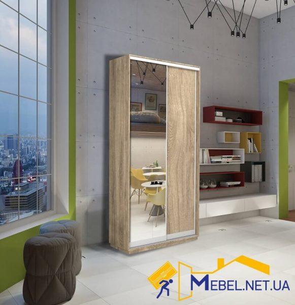 2 дверный шкаф купе (зеркало+ДСП; дуб сонома)
