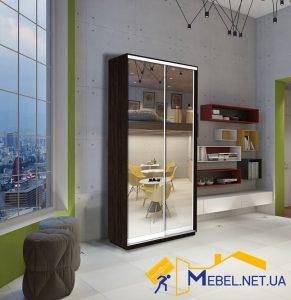 2 дверный шкаф купе (зеркало+зеркало; венге)