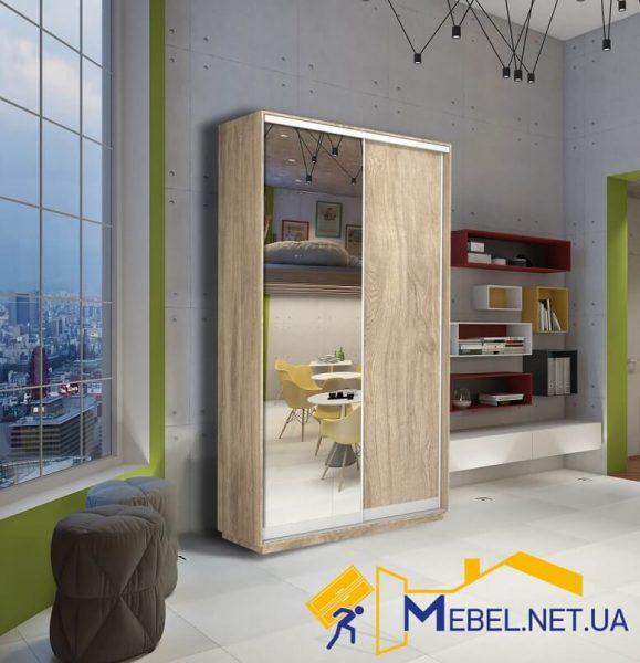 2-дверный шкаф-купе (зеркало+ДСП; дуб сонома)
