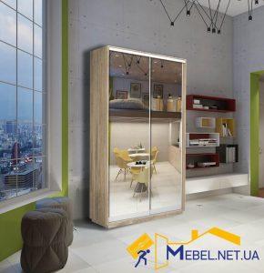 2 дверный шкаф купе (зеркало+зеркало; дуб сонома)
