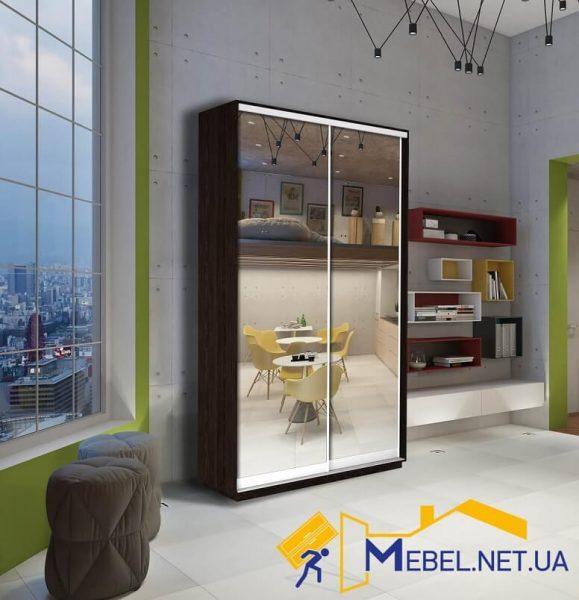 2-дверный шкаф-купе (зеркало+зеркало; венге)