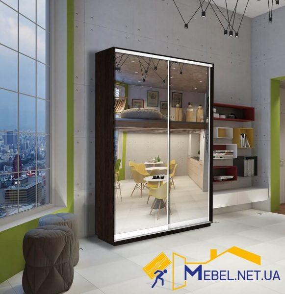 2-дверный шкаф купе (зеркало+зеркало; венге)