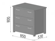 Комод Тесса - габаритные размеры