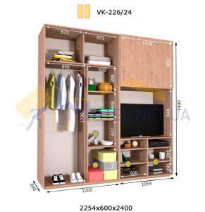 Комплект шкафов с полкой под телевизор VК-226/24 (2260*600)