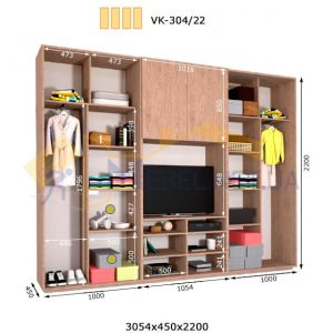 Комплект шкафов с полкой под телевизор VК-304/22 (3060*450)