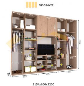 Комплект шкафов с полкой под телевизор VК-316/22 (3160*600)