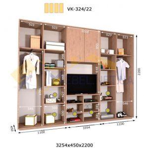 Комплект шкафов с полкой под телевизор VК-324/22 (3260*450)