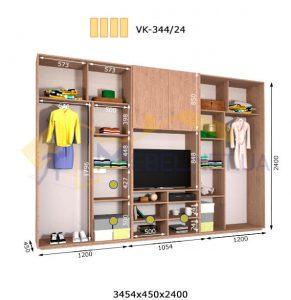 Комплект шкафов с полкой под телевизор VК-344/24 (3460*450)