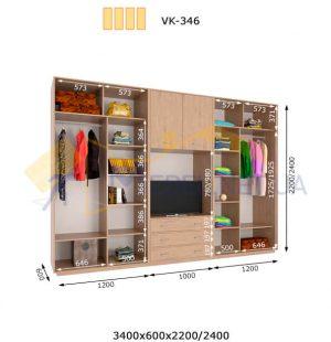 Комплект шкафов-купе с полкой под ТВ 3400*600 VK-346