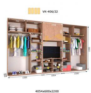 Комплект шкафов с полкой под телевизор VК-406/22 (4060*600)