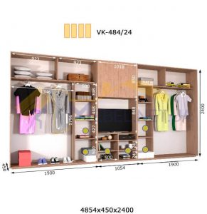 Комплект шкафов с полкой под телевизор VК-484/24 (4860*450)