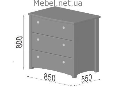 Комод Вега - габаритные размеры