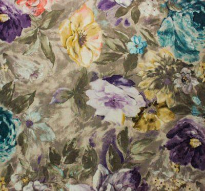 Ткань Фиона Flower Violet - велюр шлифованный