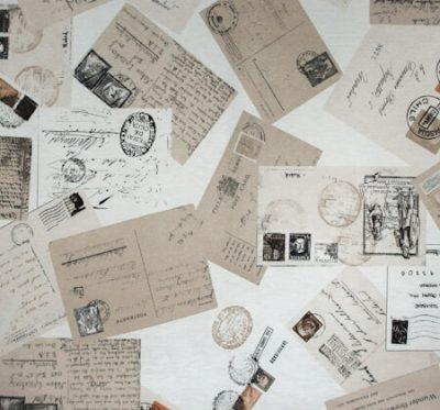 Ткань Лонета Postcard - поликоттон